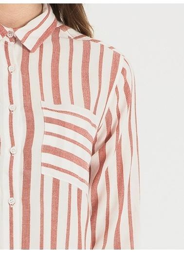 Loft Çizgili Gömlek Kırmızı